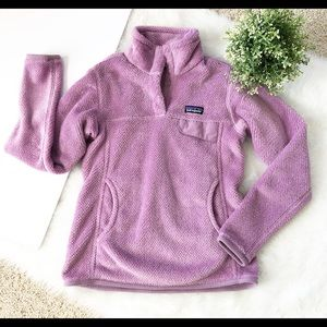 Patagonia purple fleece snap pullover sz S